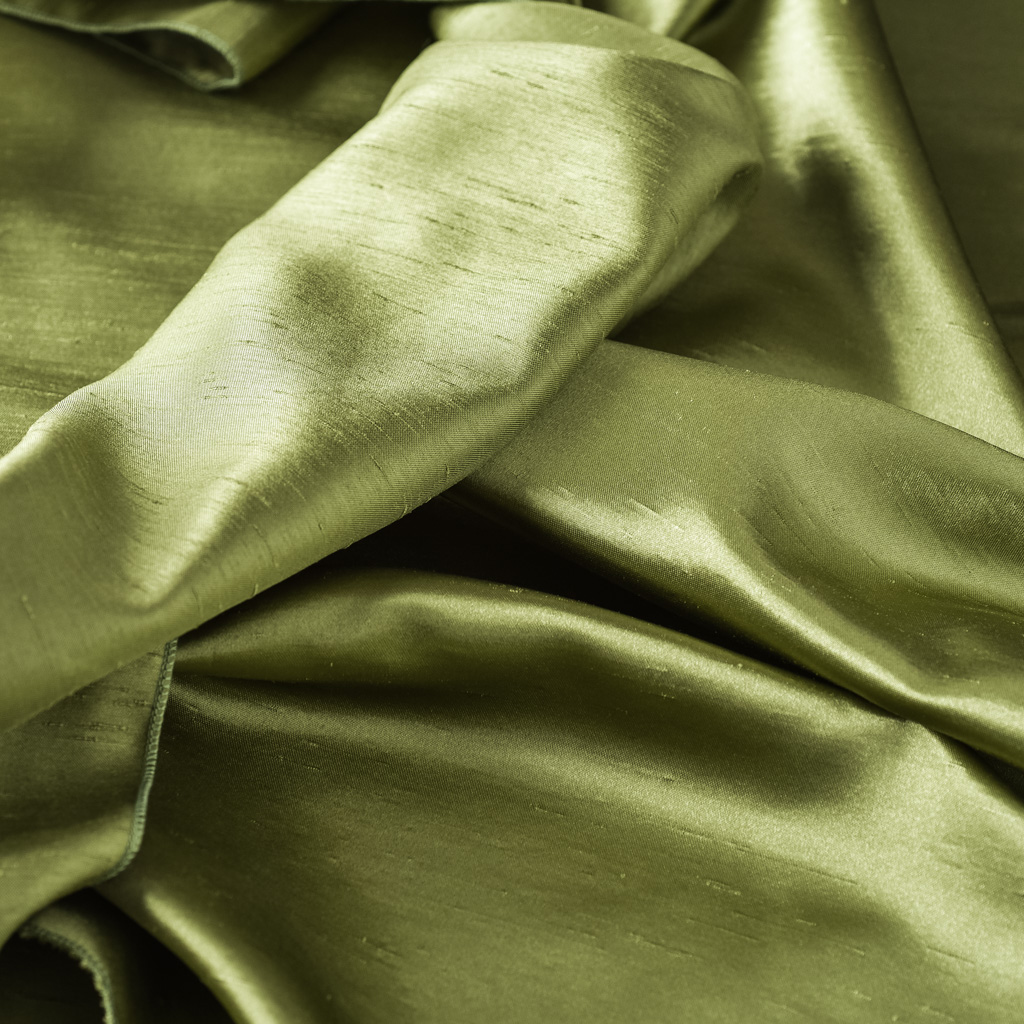 Dark Lime Shantung